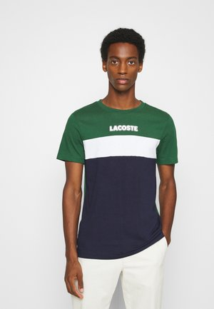 T-shirt z nadrukiem - dark green/dark blue/white