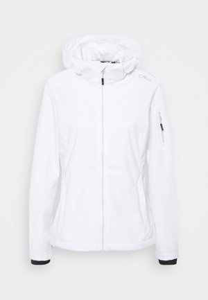 WOMAN JACKET ZIP HOOD - Kurtka Softshell - bianco/stone