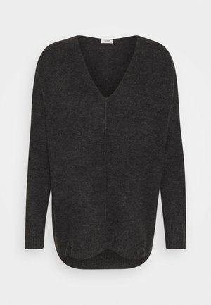 JDY ANNE V NECK  - Jumper - dark grey melange