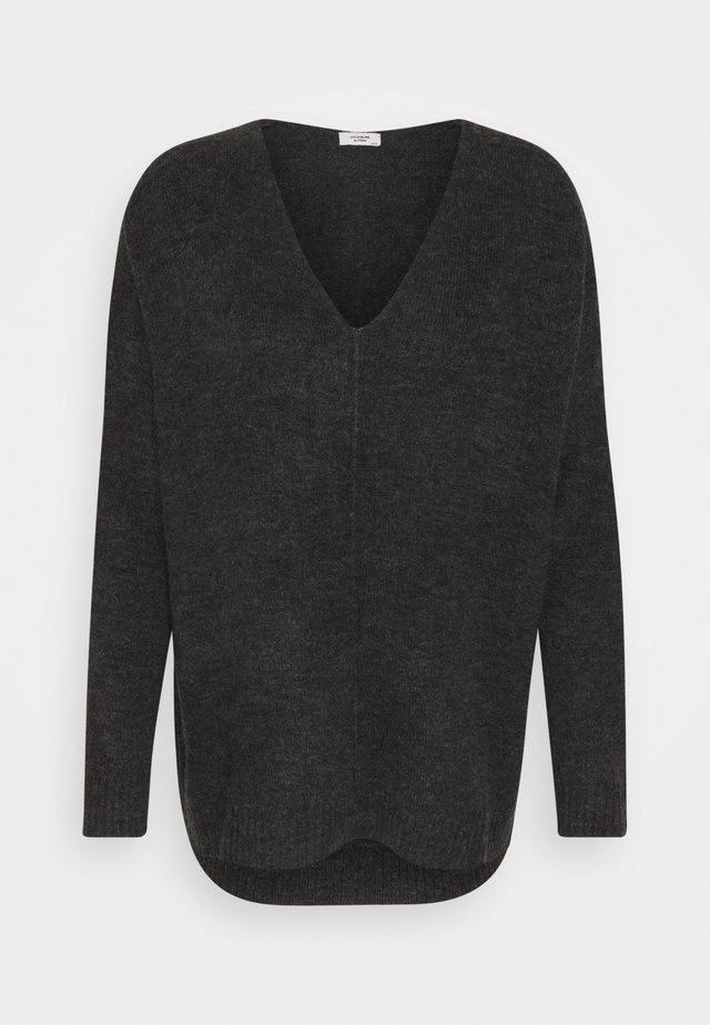 JDY ANNE V NECK  - Sweter - dark grey melange
