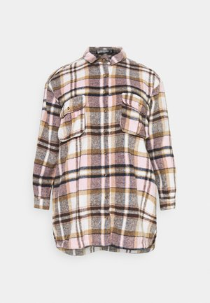 OVERSIZED SHIRT DRESS BRUSHED CHECK - Shirt dress - pink
