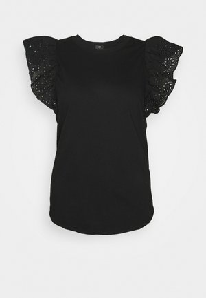 PLUS BROIDERIE FILL SLEEVE TANK - Print T-shirt - black