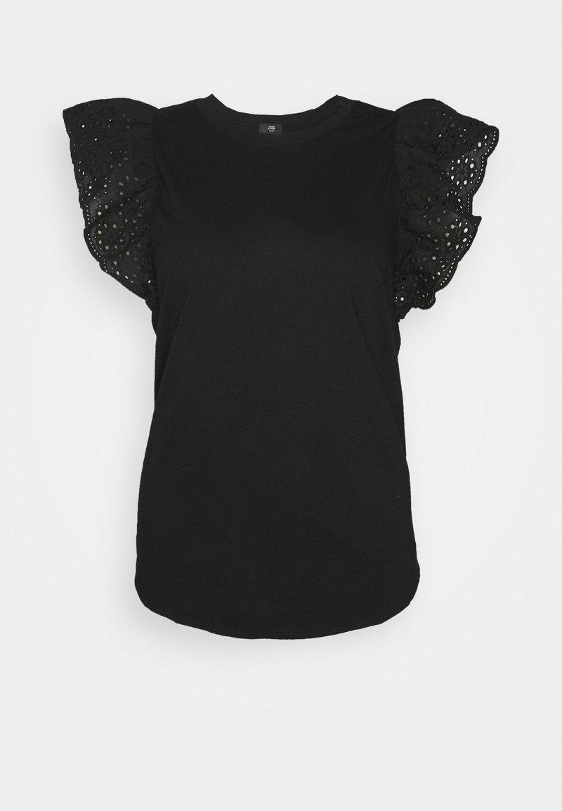 River Island Plus - PLUS BROIDERIE FILL SLEEVE TANK - Print T-shirt - black