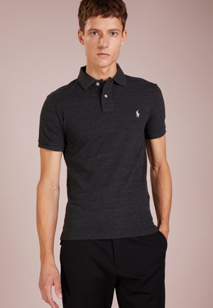 SLIM FIT MODEL - Polo - black coal heather