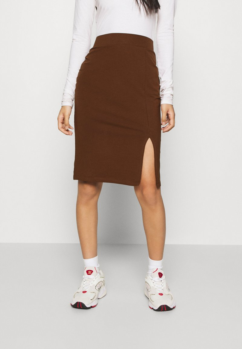 Even&Odd - BASIC - Midi skirt with slit - Pouzdrová sukně - dark brown