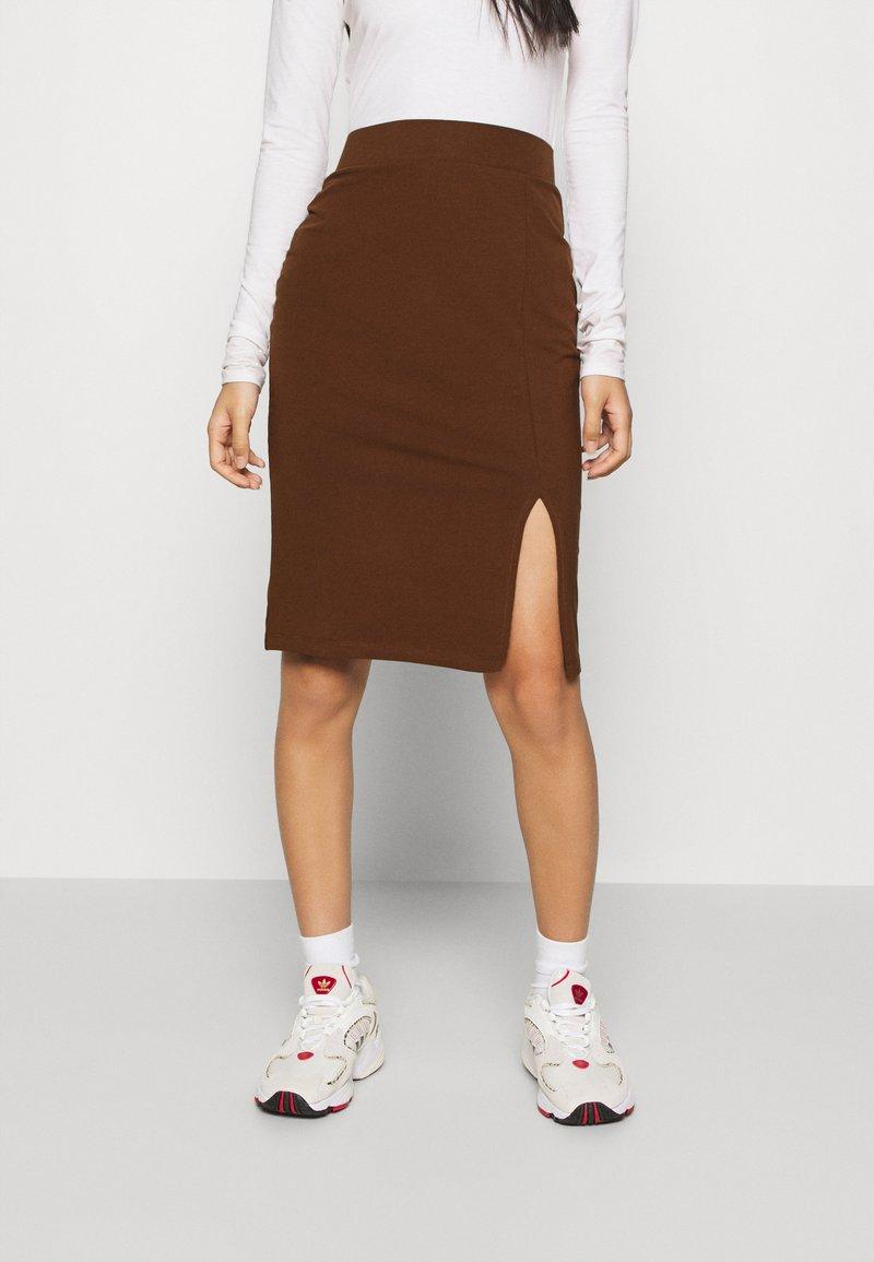 Even&Odd - BASIC - Bodycon mini skirt - Jupe crayon - dark brown