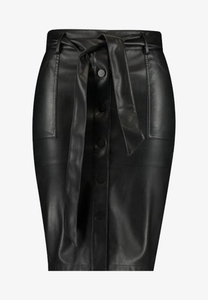 WITH BUTTONS - Pencil skirt - black