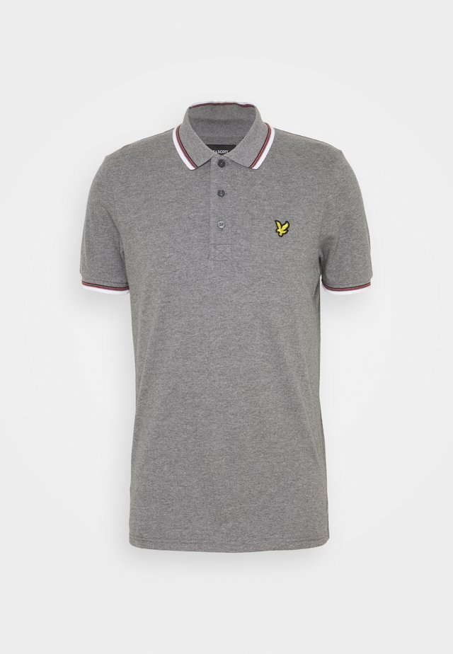 TIPPED  - Polo - mid grey marl/ white