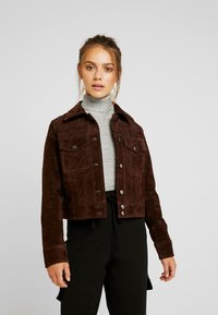 VILA PETITE - VIMUSA JACKET - Leather jacket - puce - 0