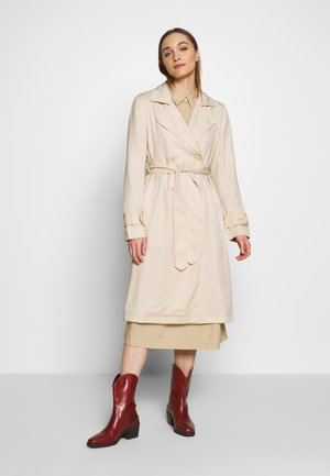 TRENCH COAT DOUBLE BREASTED BELTED WELT POCKETS - Trench - raw sand