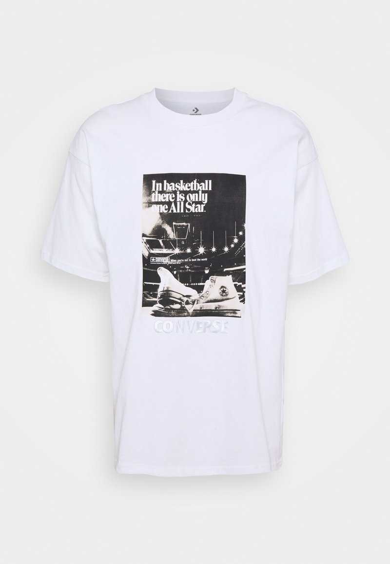 Converse - CHUCK TAYLOR WASHED ARCHIVE BASKETBALL TEE UNISEX - Print T-shirt - white