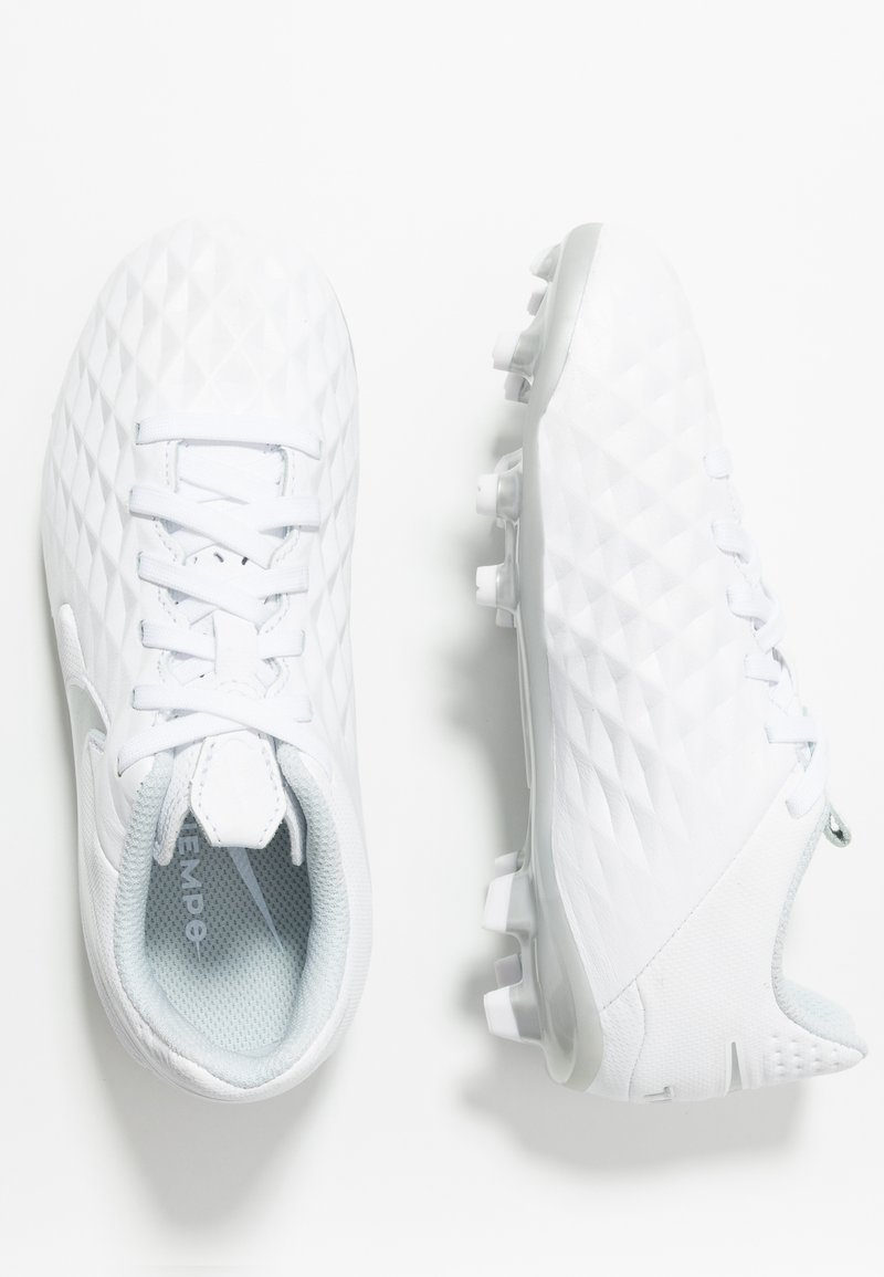 Nike Performance - TIEMPO JR LEGEND 8 ACADEMY FG/MG UNISEX - Moulded stud football boots - white/chrome/pure platinum/metallic silver