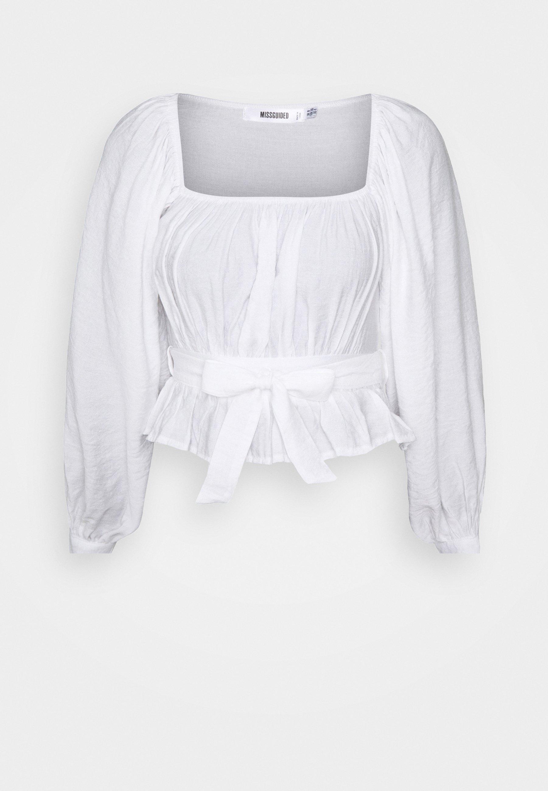 Women GATHERED TIE WAIST BALLOON SLEEVE - Long sleeved top