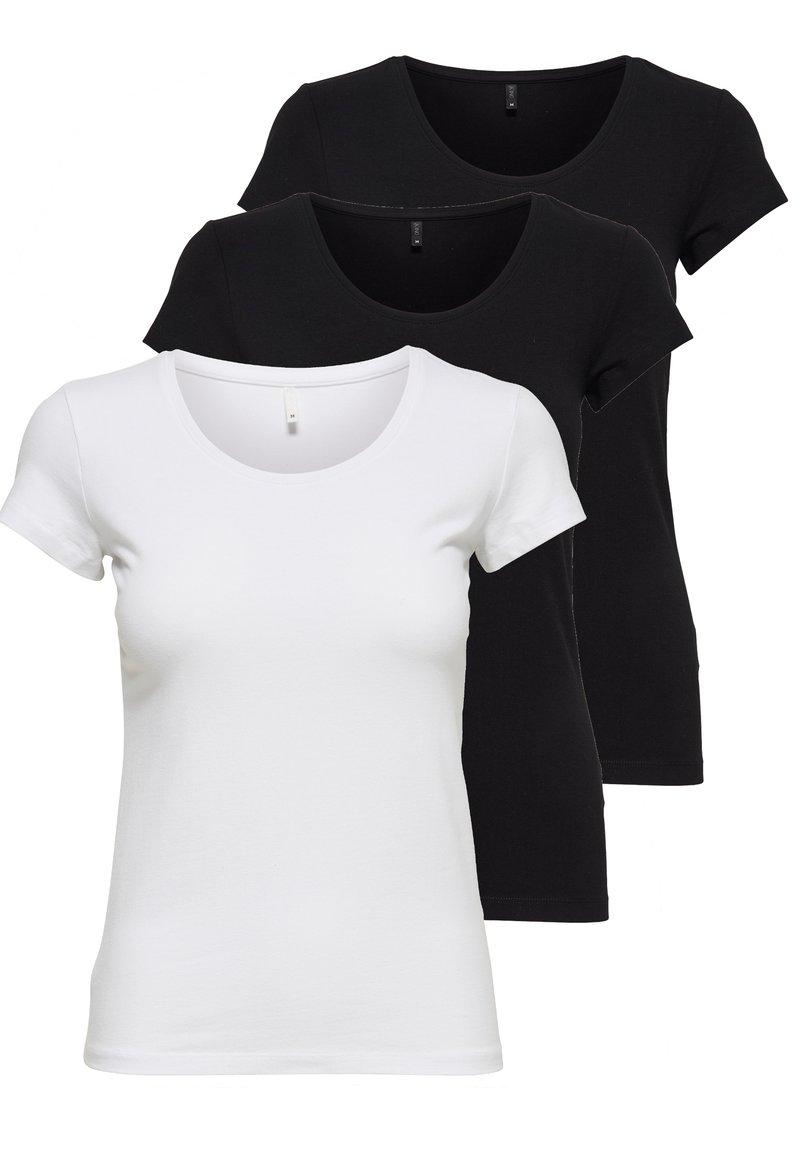 ONLY - PACK OF 3 - Basic T-shirt - black / black / white