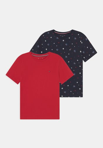TEE PRINT 2 PACK - Print T-shirt - dark blue/red