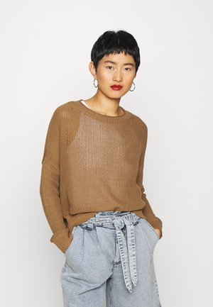 LONGSLEEVE BOAT NECK - Strickpullover - deep tobacco