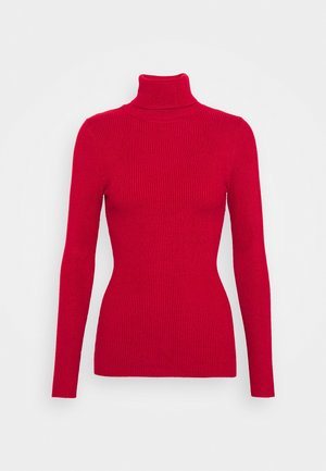 BASIC- RIBBED TURTLE NECK - Pullover - red