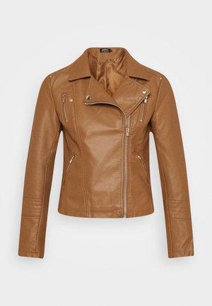 ONLGEMMA BIKER - Faux leather jacket - cognac