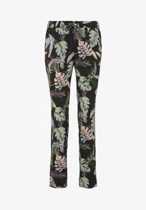 Trousers - black tropical print