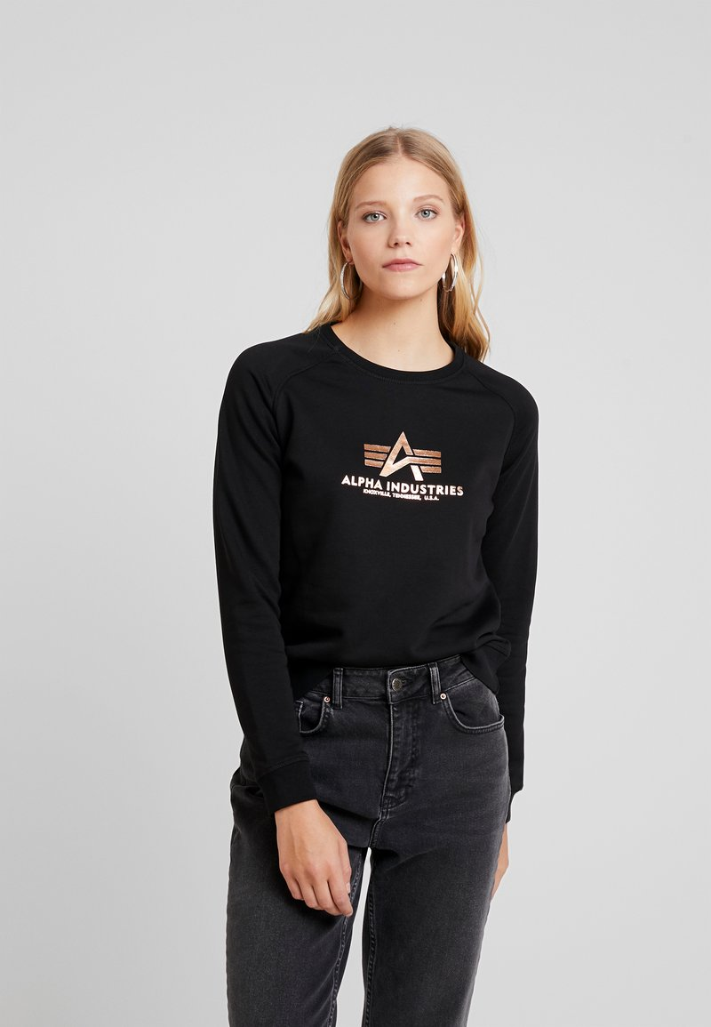 Alpha Industries - BASIC SMALL LOGO - Sweatshirt - black/metalgold