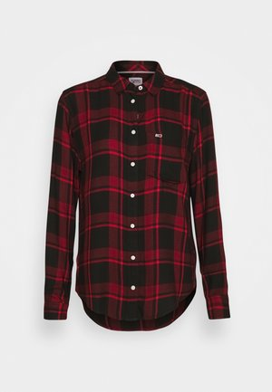 FLUID CHECK - Button-down blouse - dark red/black