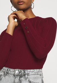 Missguided - BUTTON CUFF CREW NECK - Trui - burgundy - 5