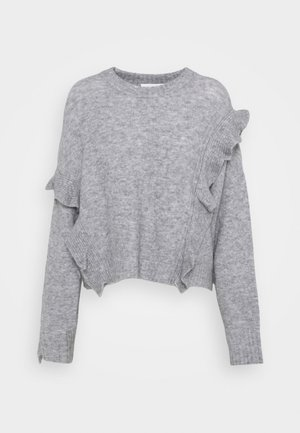 LOFTY CROPPED RUFFLE - Svetr - grey