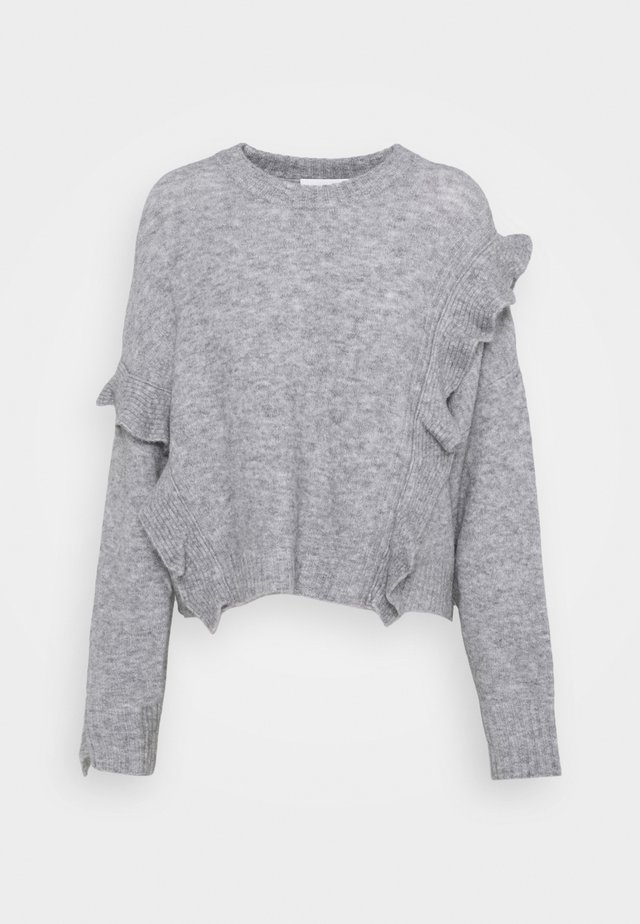 LOFTY CROPPED RUFFLE - Sweter - grey