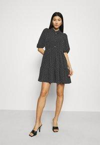 Closet - GATHERED DRESS - Shirt dress - black - 1