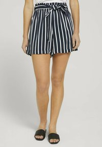 TOM TAILOR DENIM - RELAXED - Shorts - navy white stripe - 0