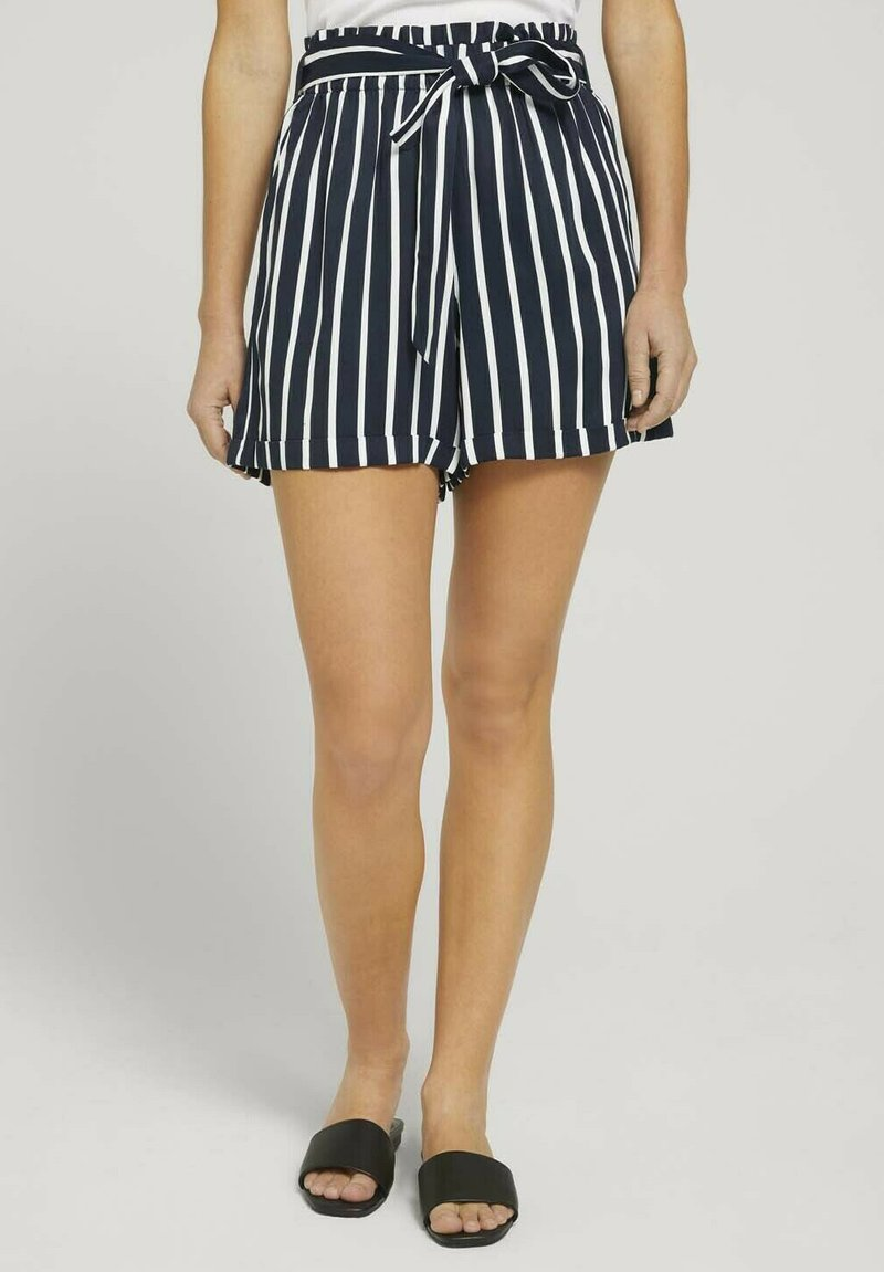 TOM TAILOR DENIM - RELAXED - Shorts - navy white stripe