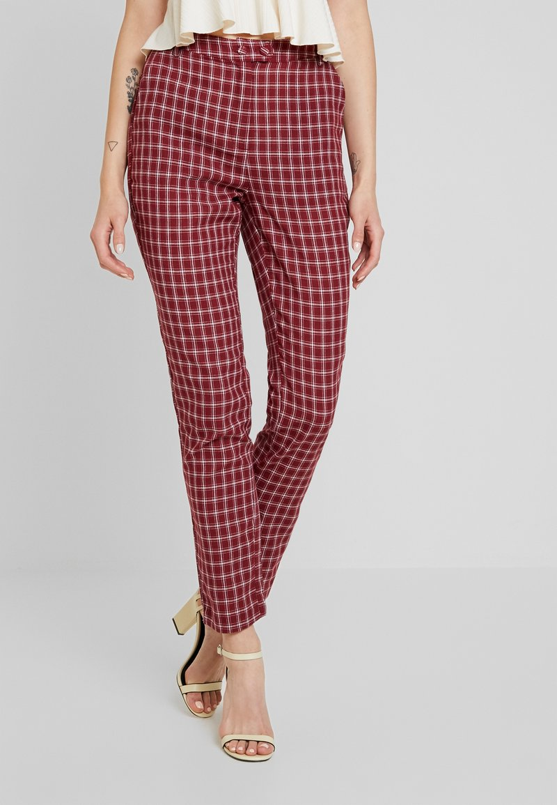 Fashion Union - BRICK TROUSERS - Spodnie materiałowe - red check