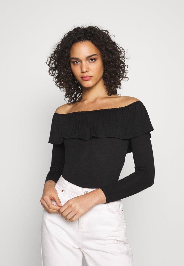 SLINKY BARDOT FRILL - Bluzka z długim rękawem - black