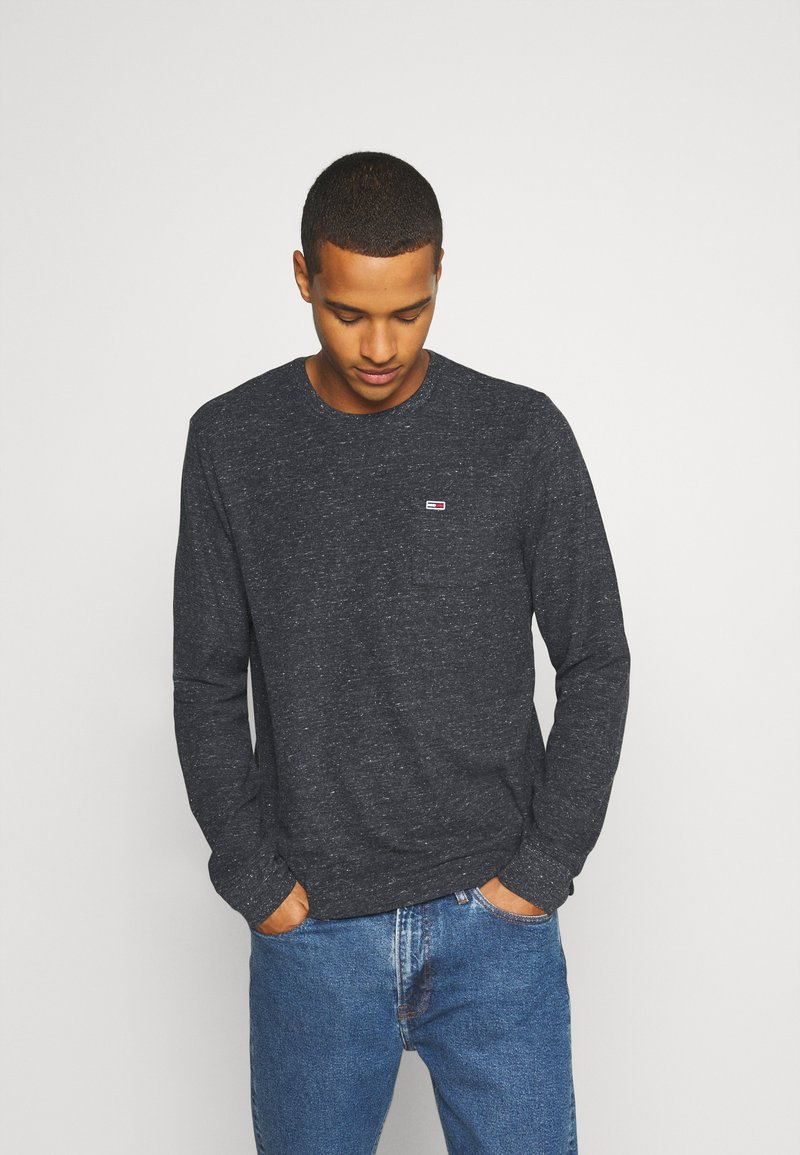 Tommy Jeans - POCKET TEE - Long sleeved top - black heather