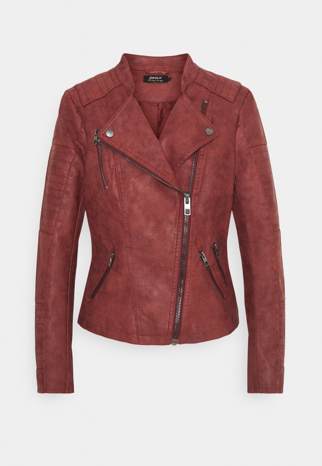 ONLAVA BIKER  - Faux leather jacket - fired brick