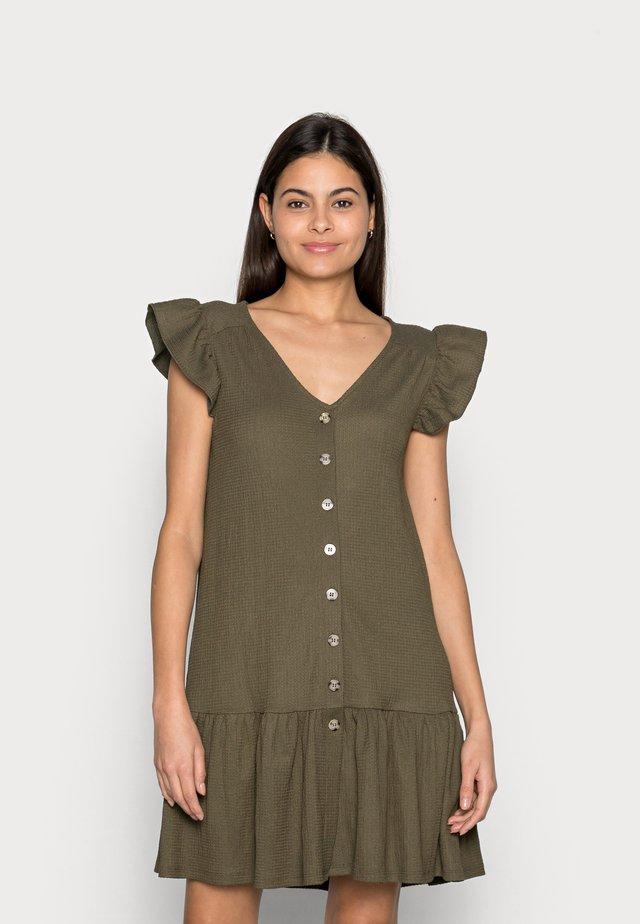 CRINKLE DRESS - Shirt dress - khaki green