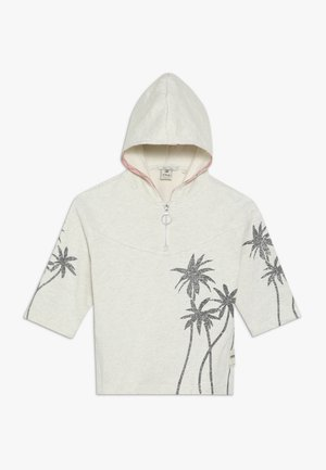 BOXY FIT ANORAK HOODY WITH PLACED GLITTER PRINT PALMTREES - Mikina s kapucí - ecru melange