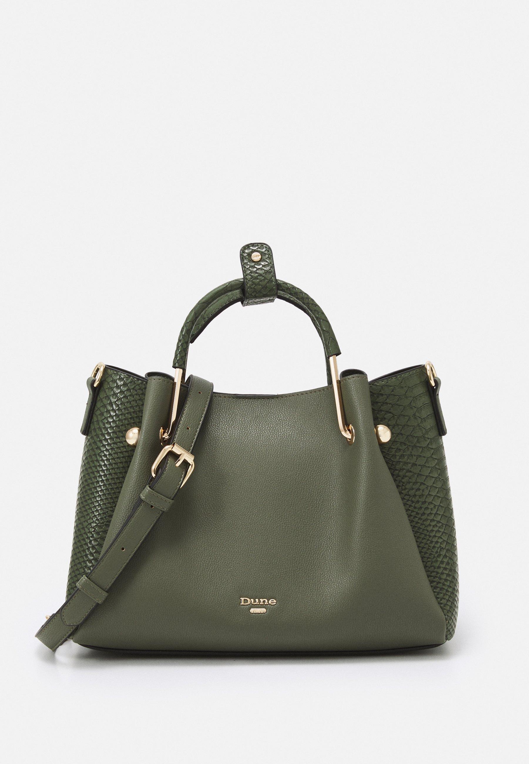 modische zweifarbige Damentasche mit Aufdruck khaki