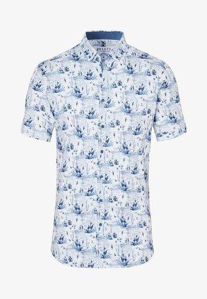 Shirt - white blue map