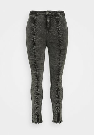 RUCHED HIGH WAIST - Jeans Skinny Fit - black acid