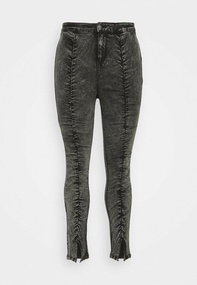 RUCHED HIGH WAIST - Skinny džíny - black acid