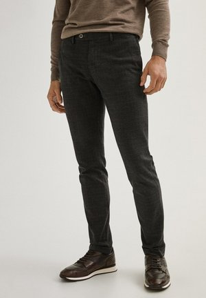KARIERTE SLIM-FIT AUS BAUMWOLLE - Trousers - grey