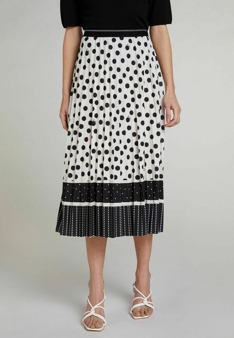 Oui - A-line skirt - offwhite black