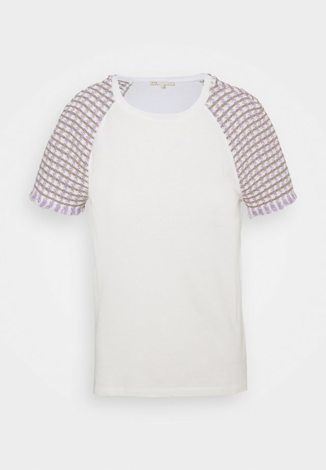 TWEED - T-shirt print - ecru parme