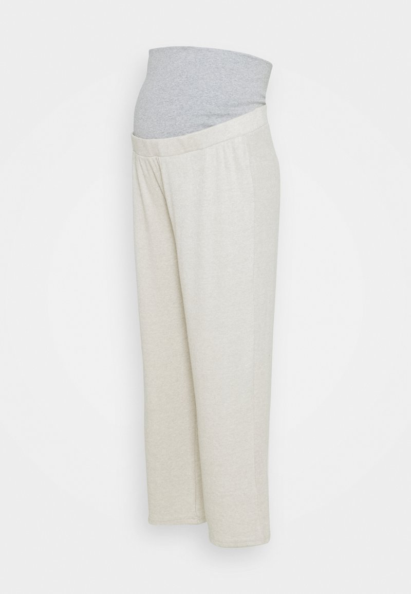 Pieces Maternity - PCMLEODA BUMPBAND WIDE PANT - Trousers - birch melange