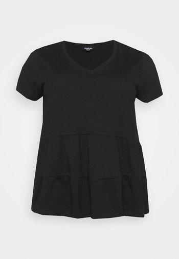 SHORT SLEEVE TIERED  - Basic T-shirt - black