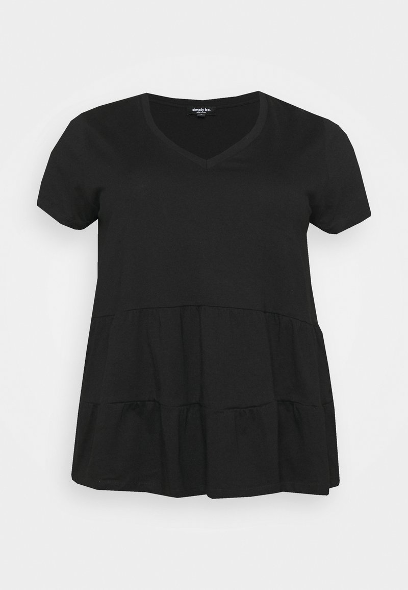 Simply Be - SHORT SLEEVE TIERED  - Basic T-shirt - black
