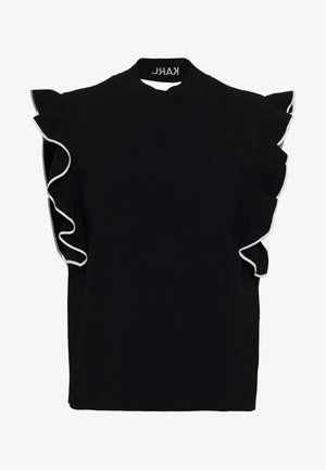 COLORBLOCK RUFFLE CROP - Print T-shirt - black