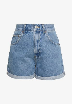 ROLLED MOM SHORT - Szorty jeansowe - dark vintage