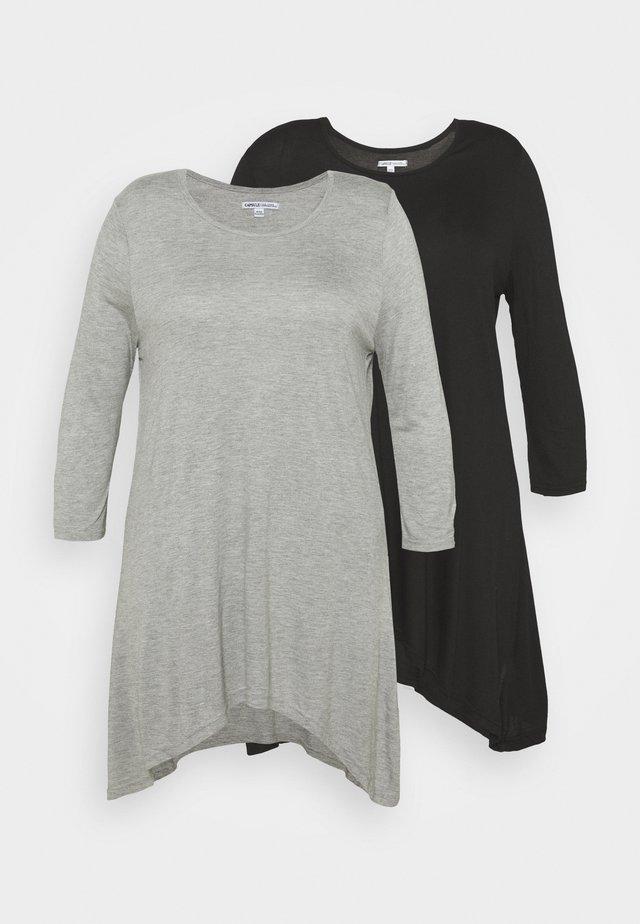 HANKY HEM TUNICS LONG SLEEVE 2 PACK  - T-shirt à manches longues - black/grey marl